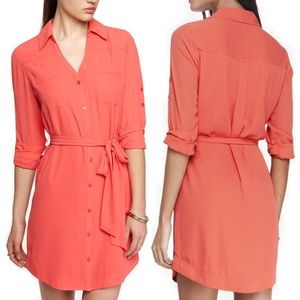 Express Portofino Shirt Dress Belted Coral Pink
